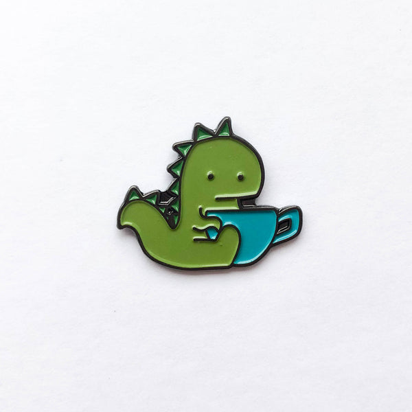 Tea Rex Soft Enamel Pin - Brown Paper Fox