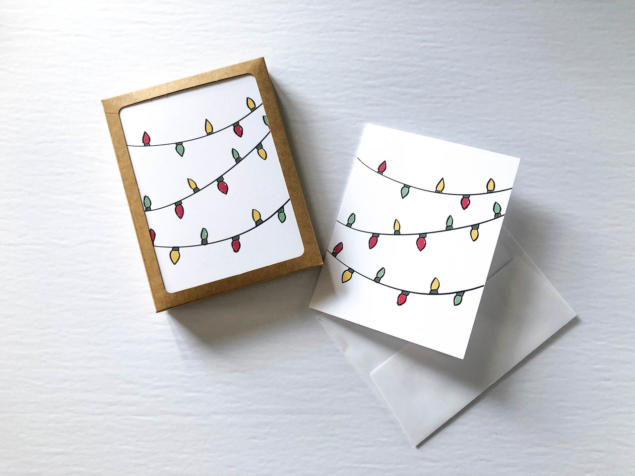 Christmas Lights A2 Card Set (Set of 10) - Brown Paper Fox