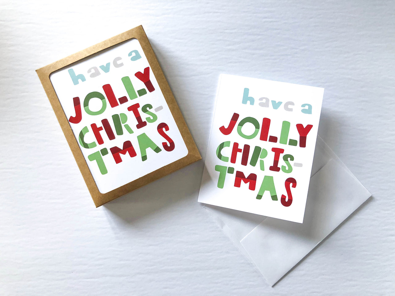 Have A Jolly Christmas A2 Card Set (Set of 10) - Brown Paper Fox