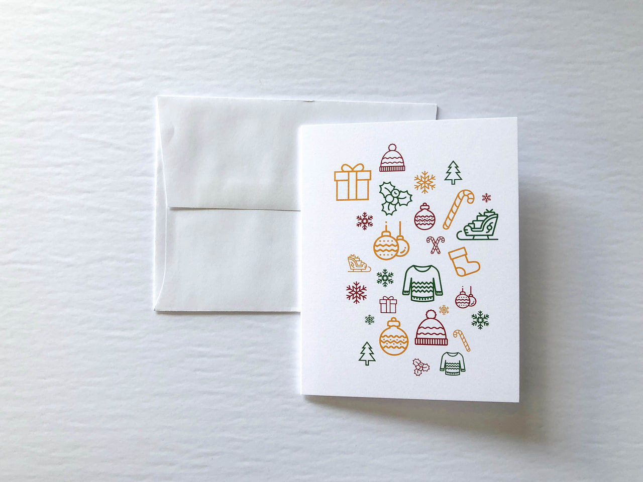 Modern Christmas A2 Card - Brown Paper Fox
