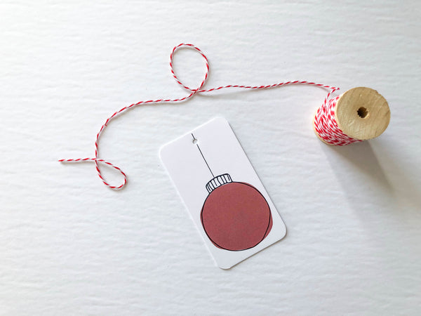Red Christmas Ornament Gift Tags - Brown Paper Fox