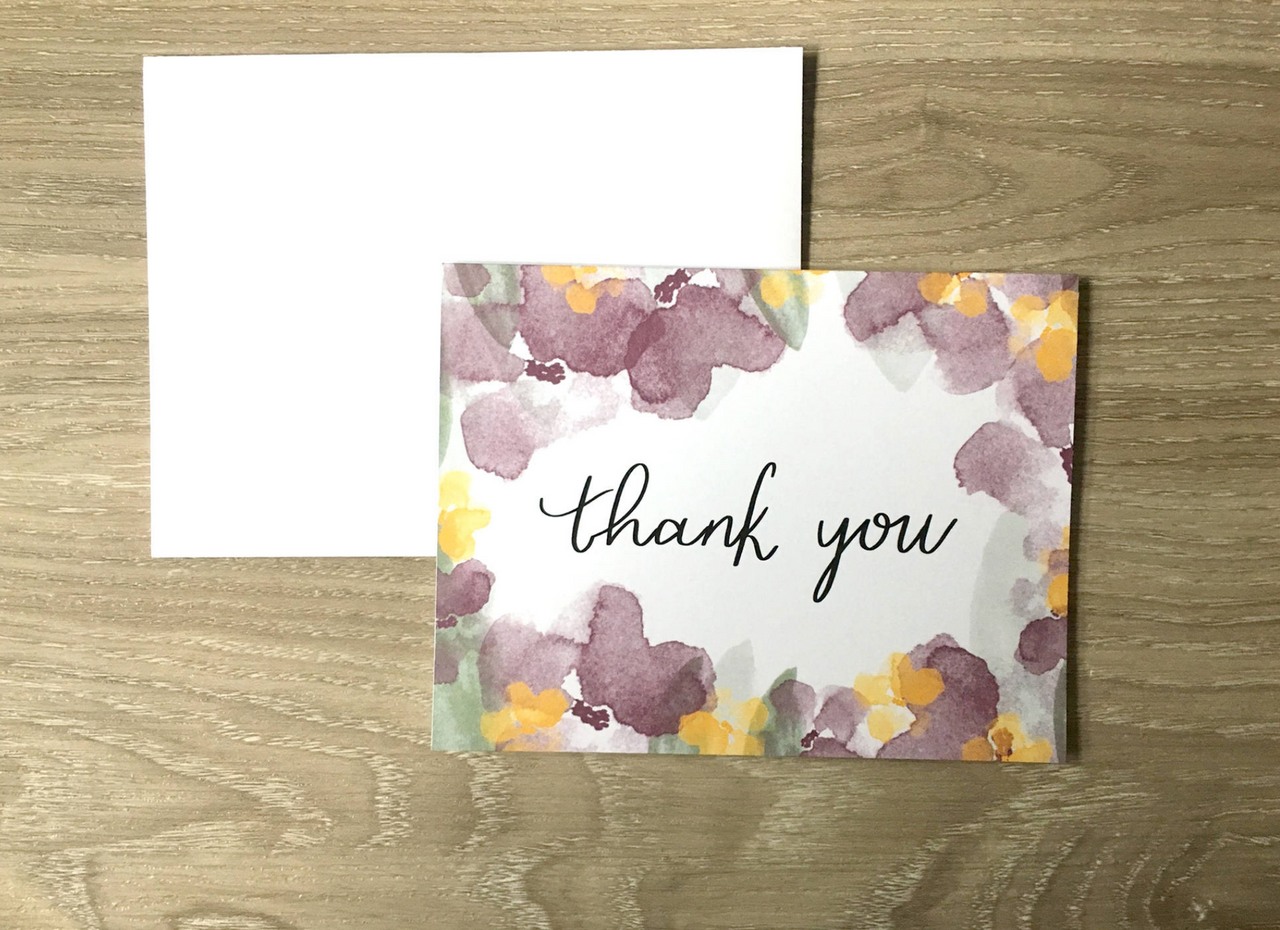 Floral Thank You A2 Card - Brown Paper Fox