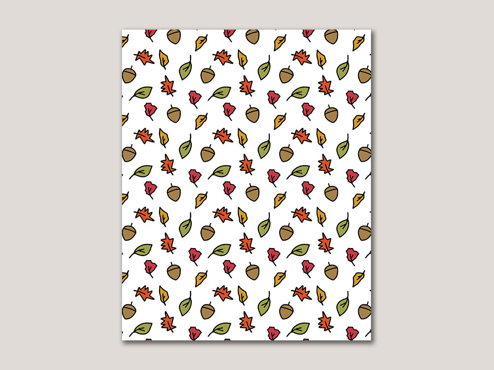 Fall Leaves Digital 8x10 Print - Brown Paper Fox