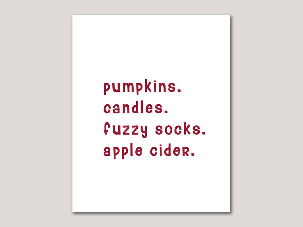 Pumpkins Candles Fuzzy Socks Apple Cider Digital 8x10 Print - Brown Paper Fox