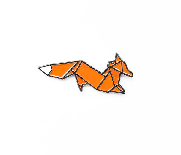 Origami Fox Soft Enamel Pin - Brown Paper Fox