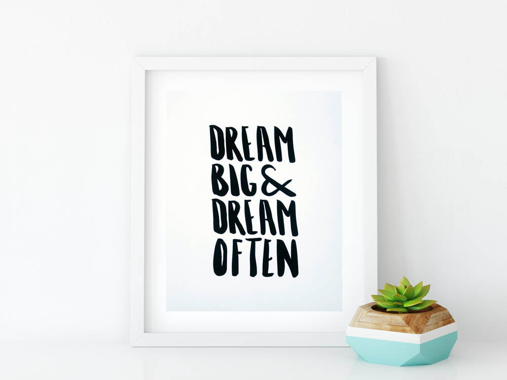 Dream Big Dream Often 8x10 Graphic Art Print - Brown Paper Fox