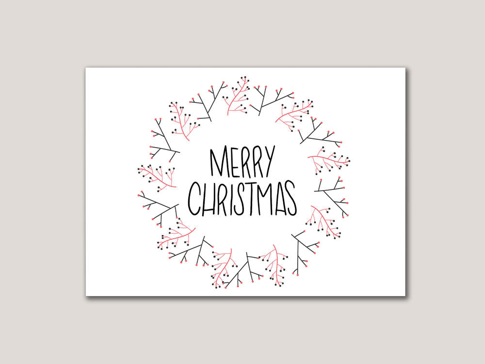 Merry Christmas Digital Card - Brown Paper Fox
