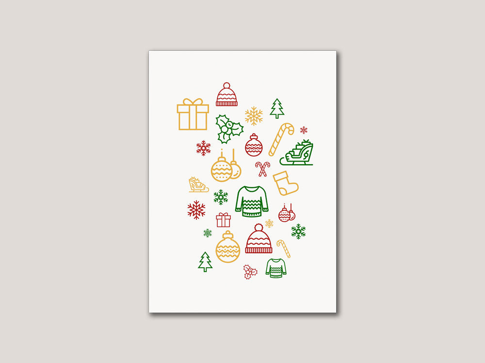 Modern Christmas Digital Card - Brown Paper Fox
