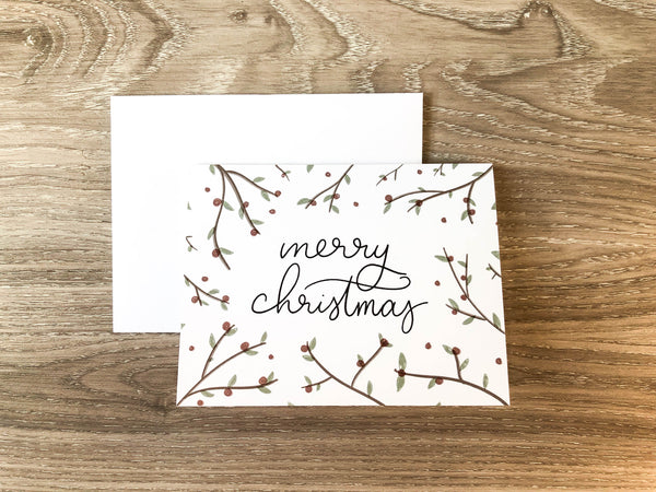 Merry Christmas Holly A2 Card - Brown Paper Fox
