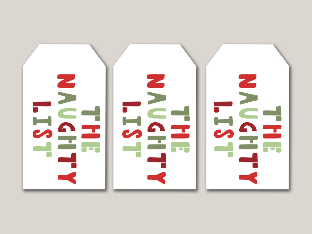 The Naughty List Printable Gift Tags - Brown Paper Fox