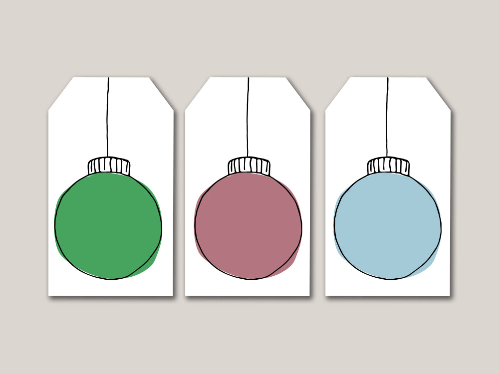 Christmas Ornament Printable Gift Tags - Brown Paper Fox