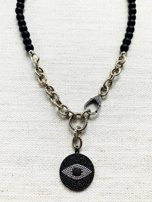 Black Pave Eye Chain Link