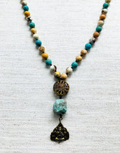 Brass Sun & Mixed Turquoise Necklace