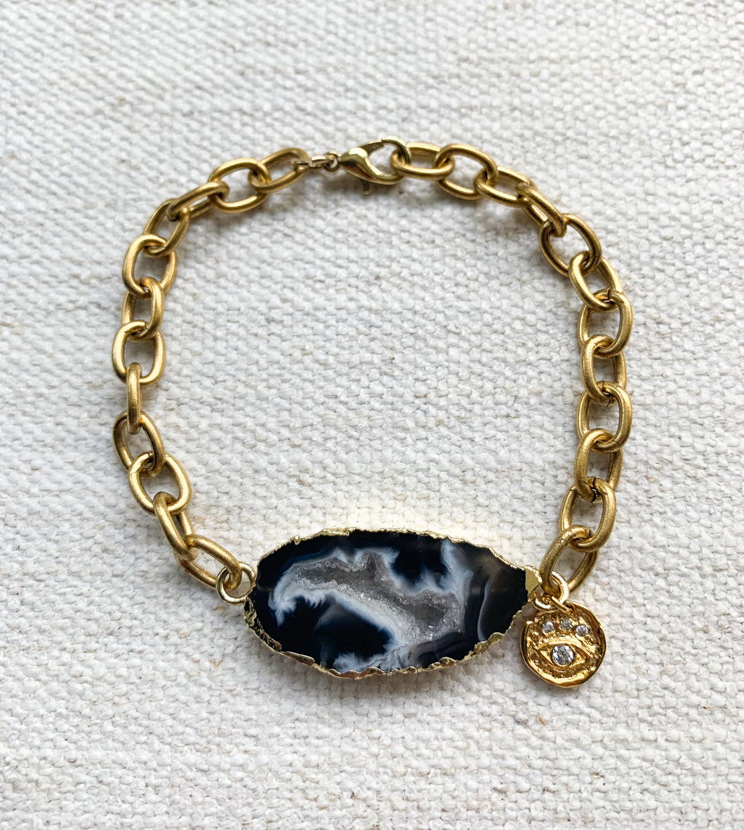 Gold Agate Chain Link