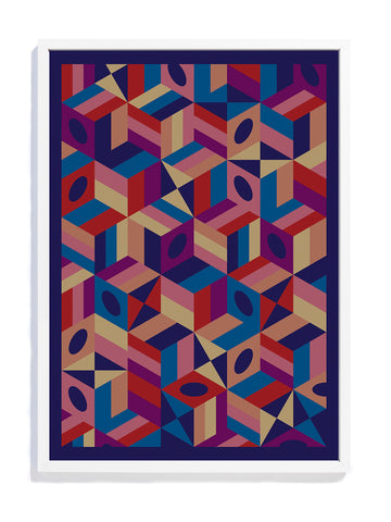 Fine art print made in England by David David, a fashion accessories brand and print studio based in London, specialising in bold geometric print