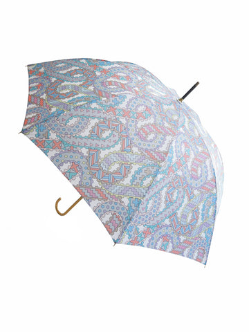 Luxury slim umbrella with pastel chain canopy design, elegant black frame and striking gold handle by David David, a fashion accessories brand and print studio based in London England, specialising in bold geometric print