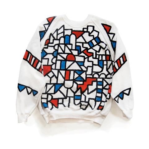 Hand painted sweater by David David.  Made in England; unique fashion piece from celebrated London artist and designer.
