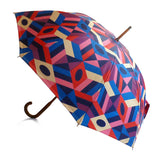 Luxury double canopy umbrella with maple wood handle and shaft by David David, a fashion accessories brand and print studio based in London England, specialising in bold geometric print