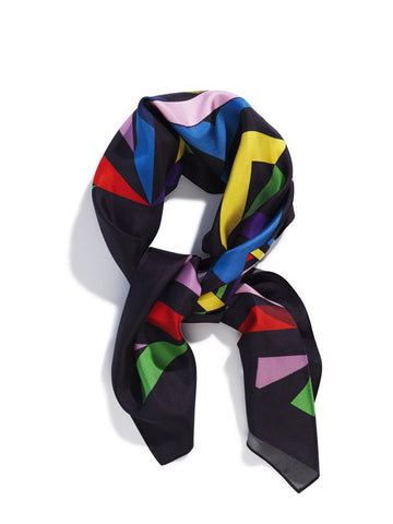 Luxury silk pocket square made in England by David David, a fashion accessories brand and print studio based in London, specialising in bold geometric print