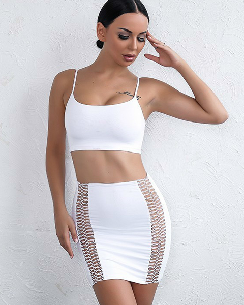 white two piece summer dress