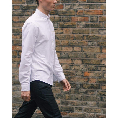 BAND POCKET SHIRT in WHITE OXFORD - SHI - Natural Selection London
