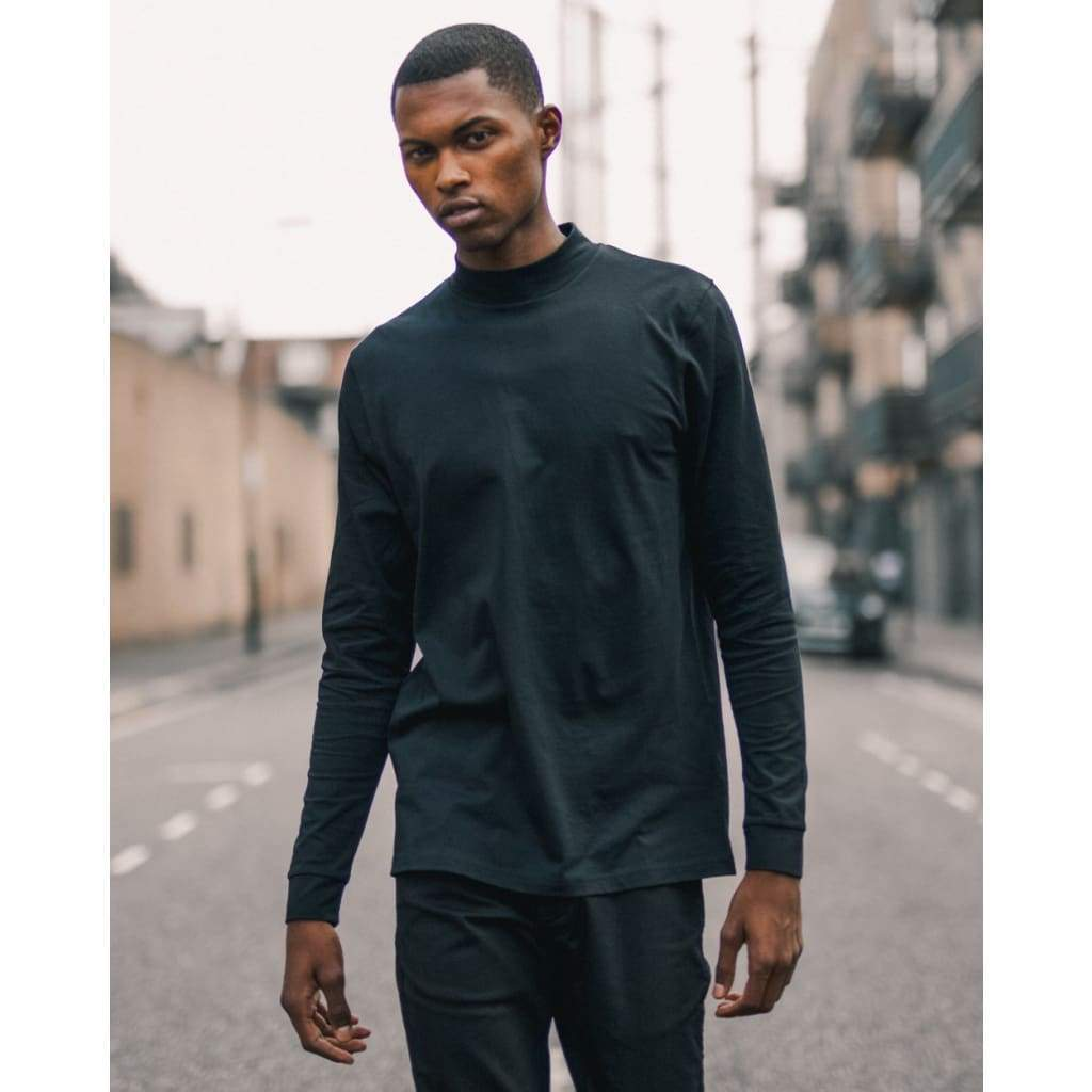 BEAT LONG SLEEVE TEE in SUPIMA BLACK - TEE - Natural Selection London