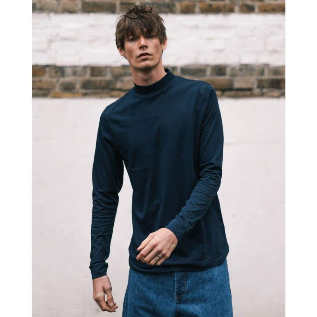 BEAT LONG SLEEVE TEE in SUPIMA NAVY - TEE - Natural Selection London