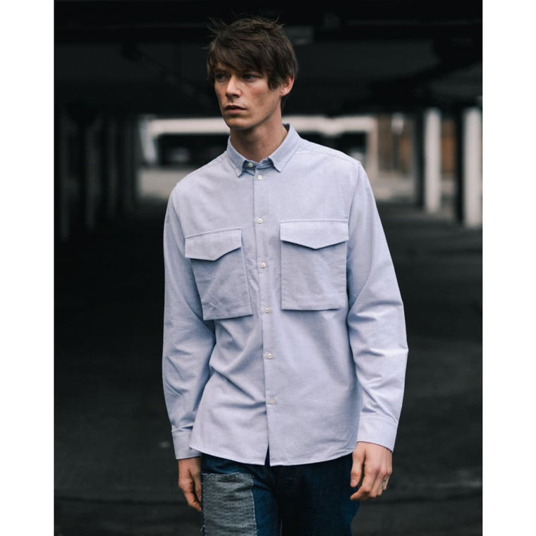 LAMBETH SHIRT in GREY FLANNEL