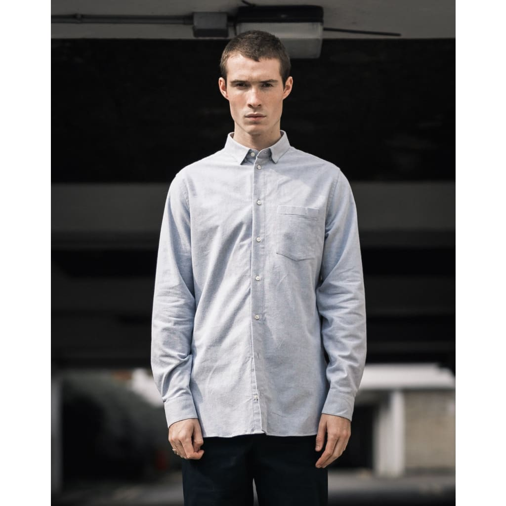 LONG POCKET SHIRT in GREY FLANNEL - SHI - Natural Selection London