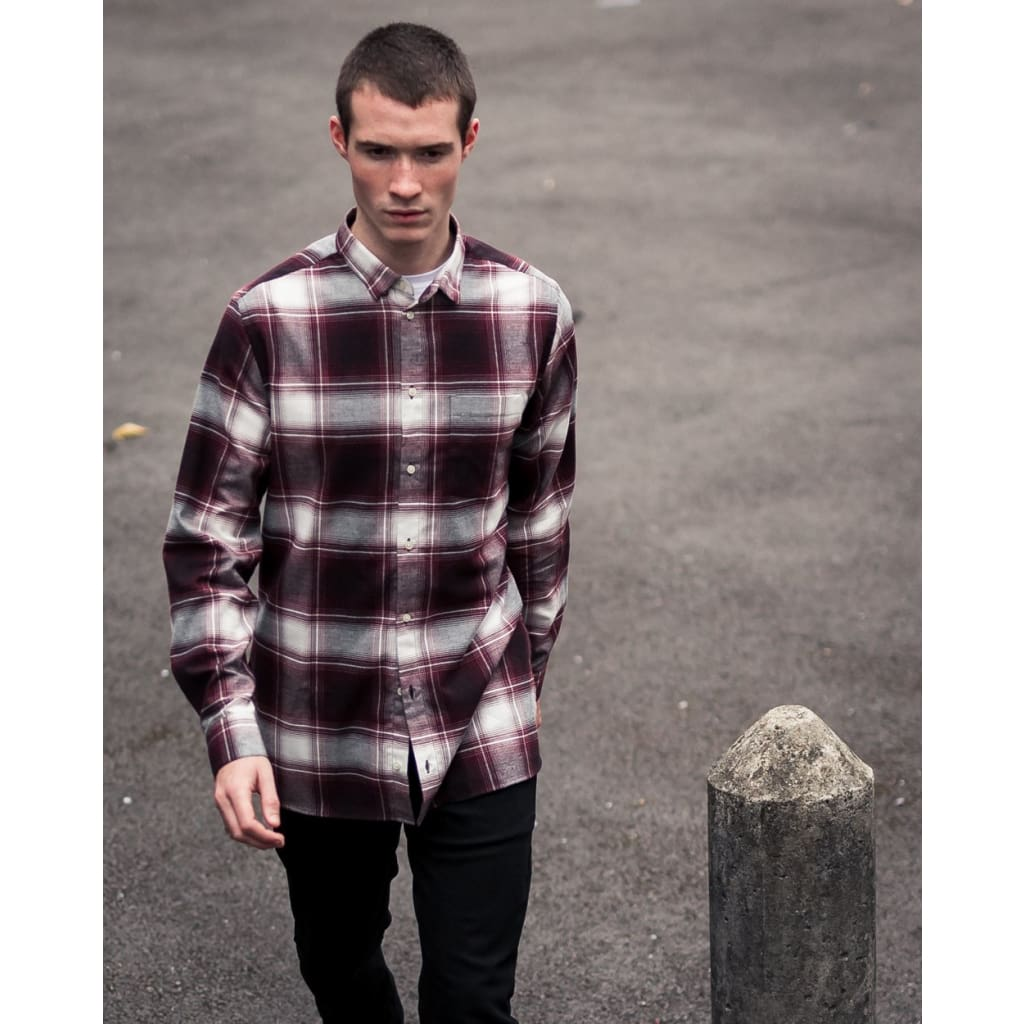 LONG POCKET SHIRT in RED LARGE CHECK - SHI - Natural Selection London