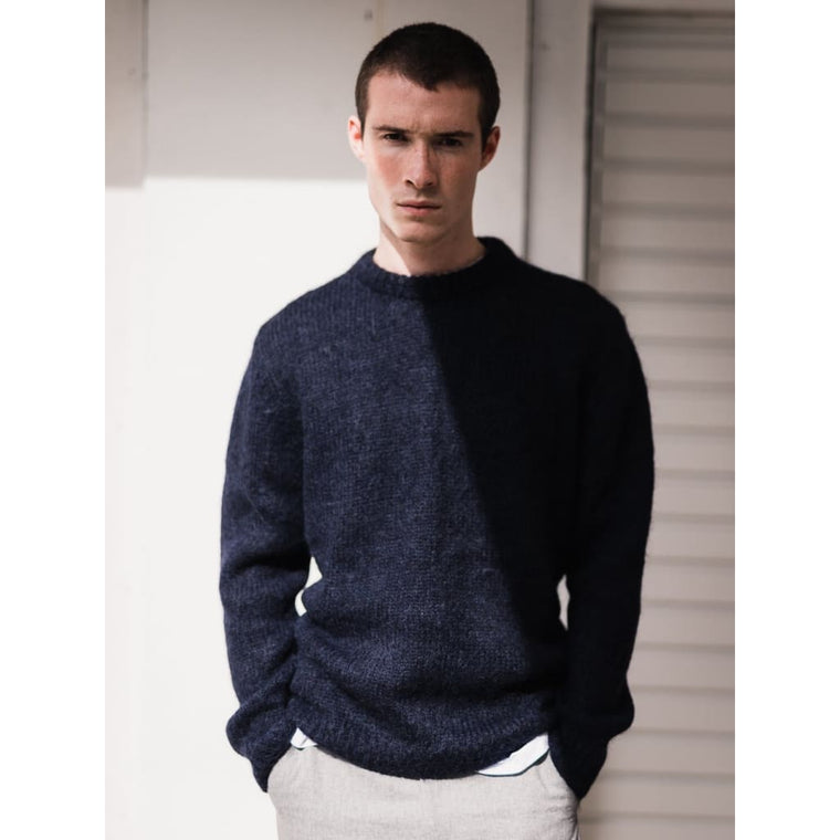 MOHAIR CREW KNIT in NAVY MOHAIR