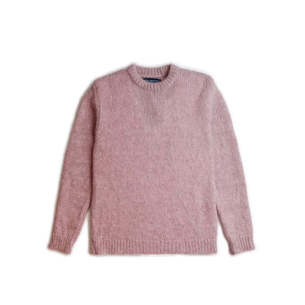 Mohair Crew Knit In Pink Mohair - Kni - Natural Selection London