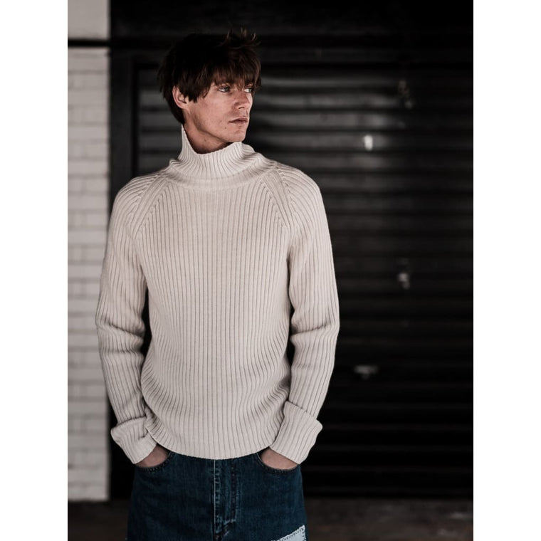 PETWORTH ROLLNECK in CREAM MERINO