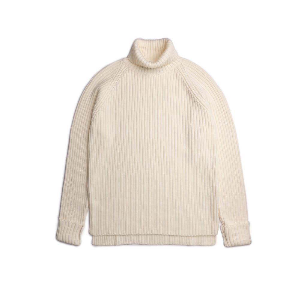 Petworth Rollneck In Cream Merino - Kni - Natural Selection London