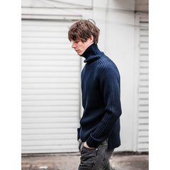 Petworth Rollneck In Navy Merino - Kni - Natural Selection London