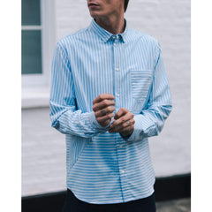 POCKET SHIRT in BLUE HORIZONTAL CHALKSTRIPE - SHI - Natural Selection London
