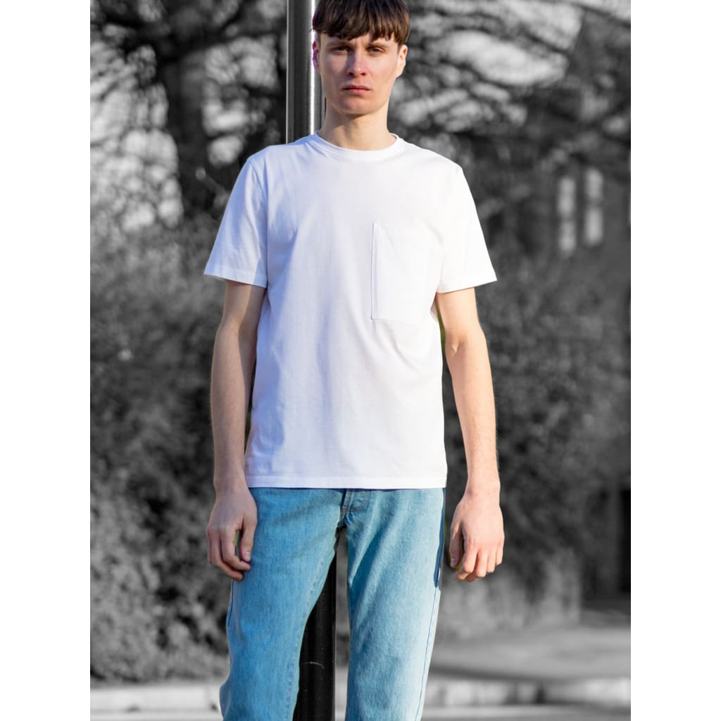 Pocket Tee In Supima White - Tee - Natural Selection London