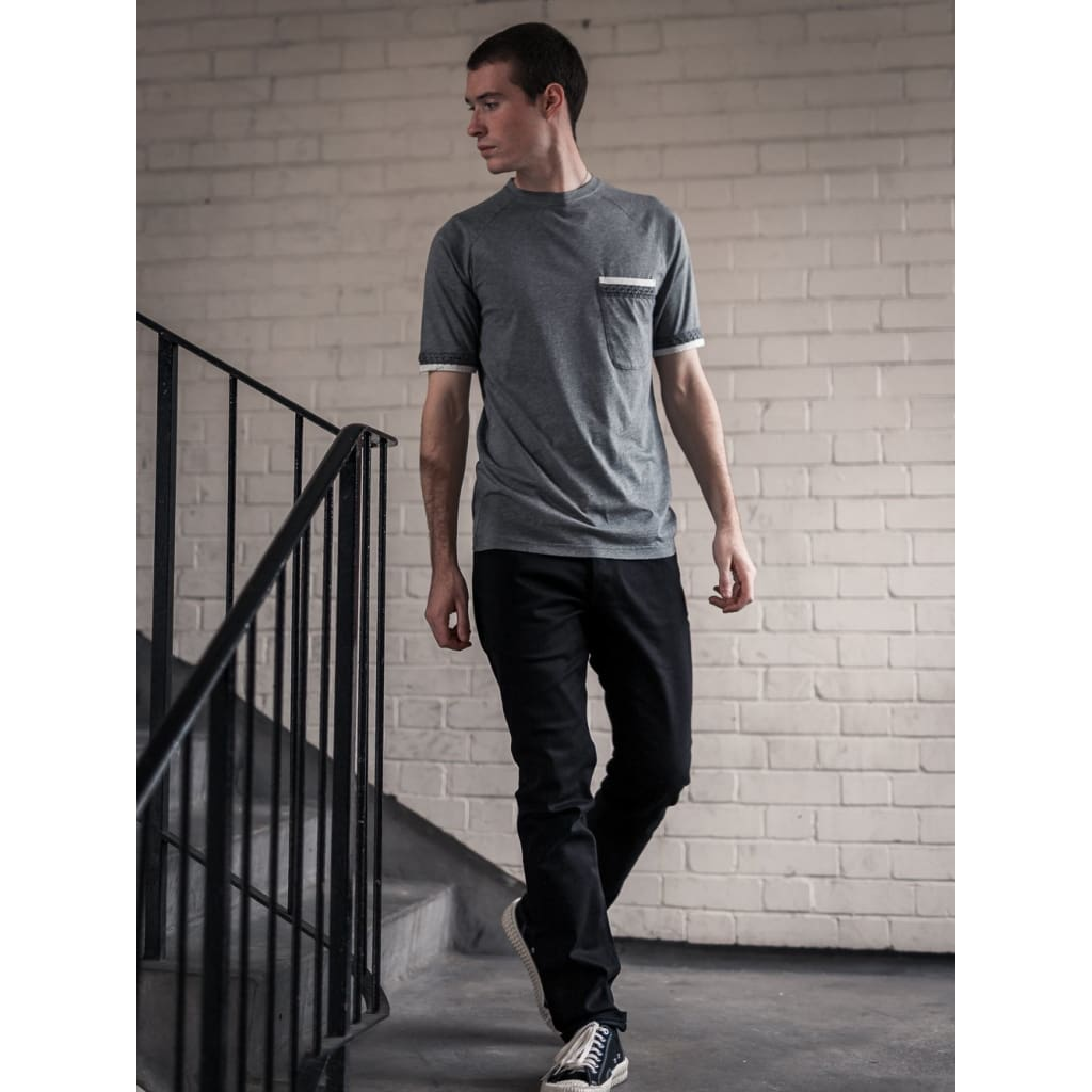Raglan Embellished Tee In Supima Charcoal - Tee - Natural Selection London