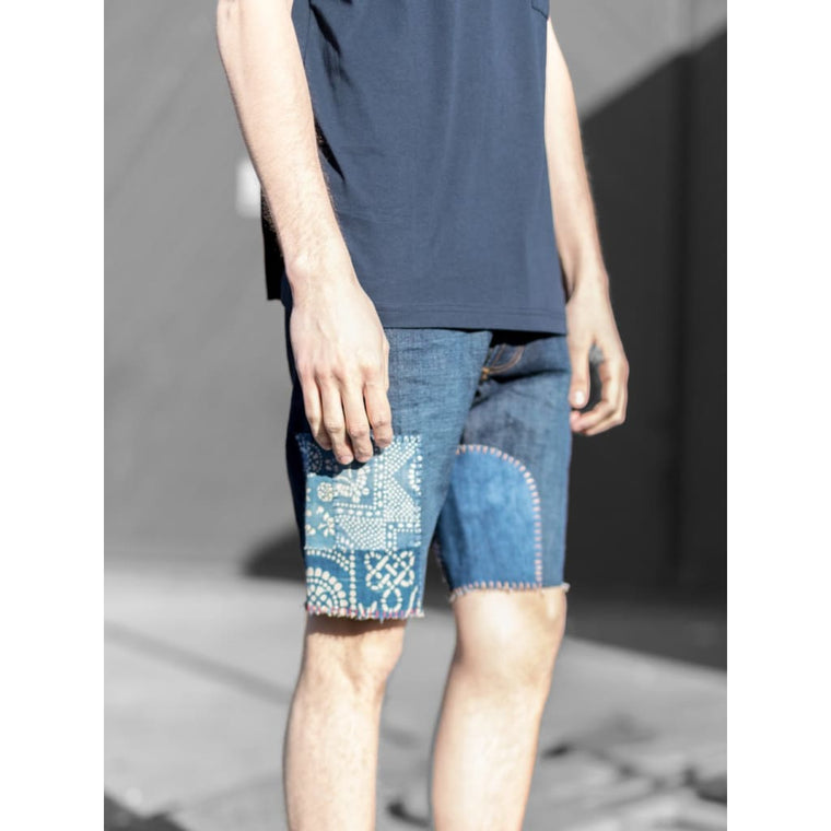 REWORKED DENIM CUT-OFFS in SELVEDGE RINSE