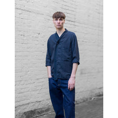 Shawlneck Shirt In Navy Linen - Shi - Natural Selection London