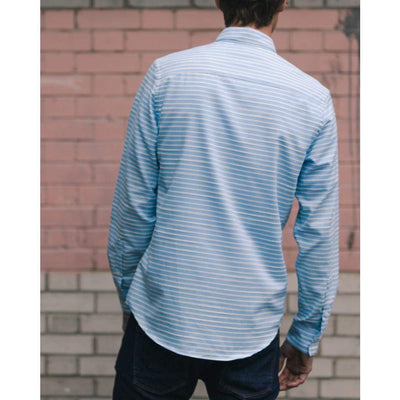 SLATE SHIRT in BLUE HORIZONTAL CHALKSTRIPE - SHI - Natural Selection London