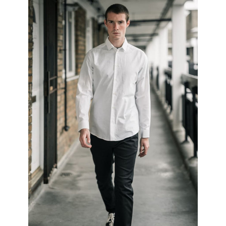 SLATE SHIRT in WHITE OXFORD