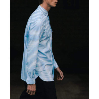 STUDIO SHIRT in BLUE HORIZONTAL CHALKSTRIPE - SHI - Natural Selection London