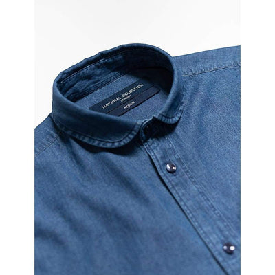 STUDIO SHIRT in MID INDIGO - SHI - Natural Selection London