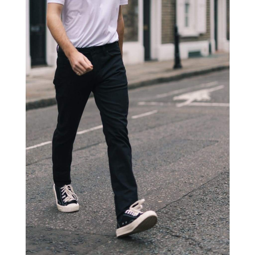 TAPER JEANS in BLACK DENIM - JEA - Natural Selection London