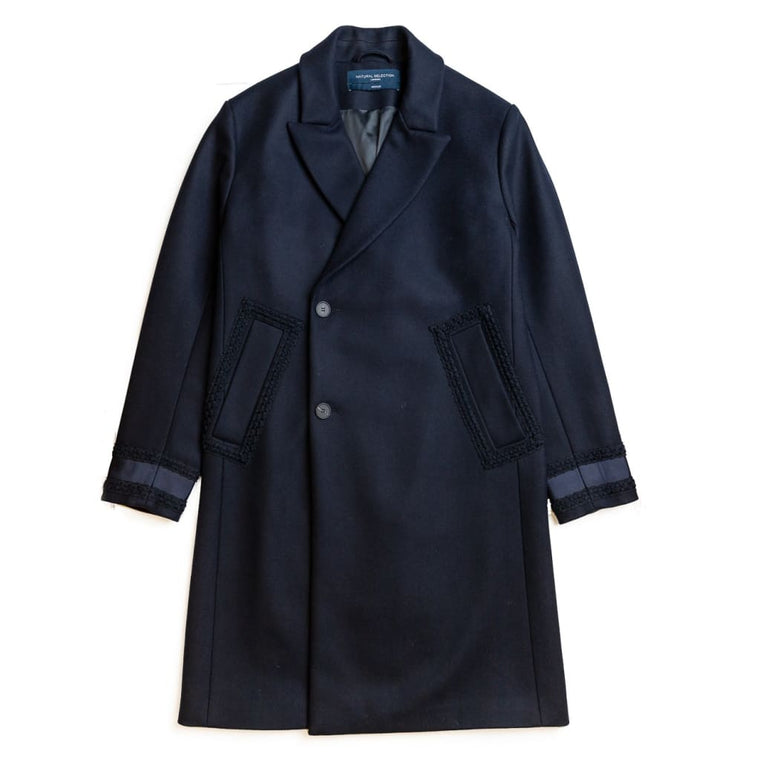 THAMES DOUBLE BREASTED COAT in NAVY ECO-WOOL - COA - Natural Selection London