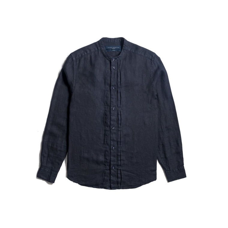 Type 2 Grandad Shirt In Navy Linen - Shi - Natural Selection London