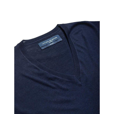 V-Neck Knit In Navy Merino - Kni - Natural Selection London