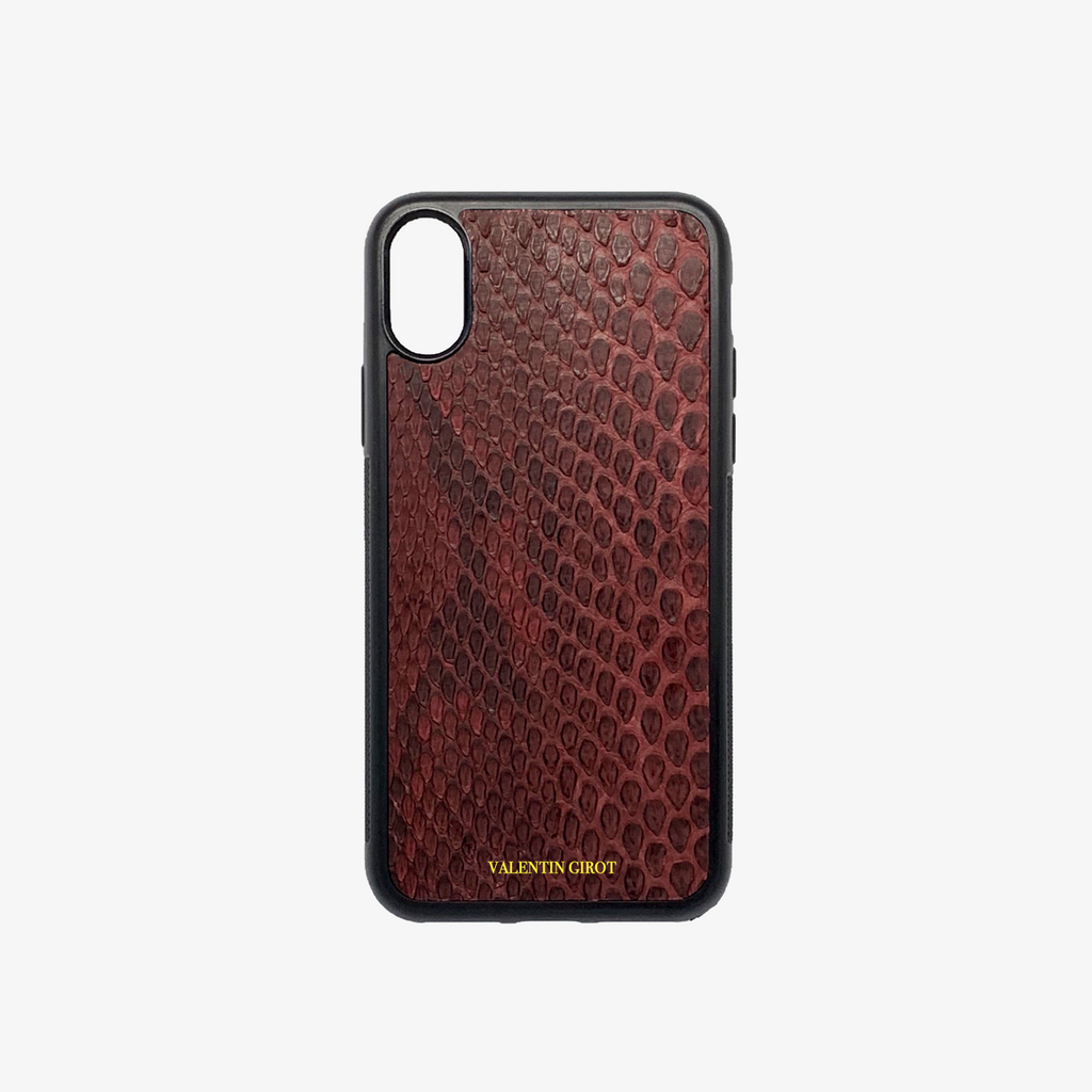 COQUE IPHONE XR PYTHON BORDEAUX ÉCAILLES
