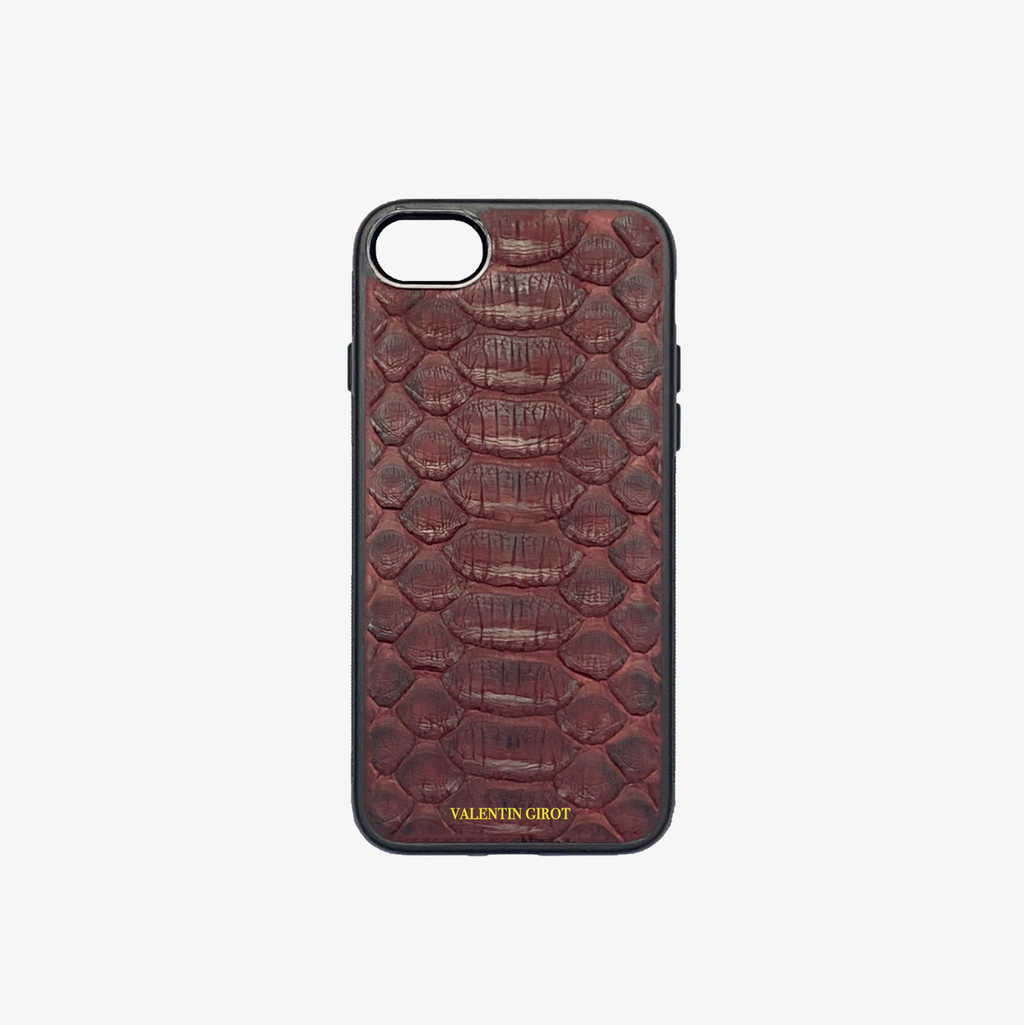 COQUE IPHONE 7/8 PLUS PYTHON BORDEAUX